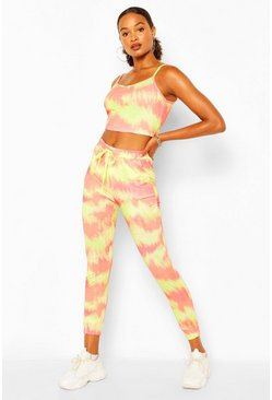 Orange TIE DYE CROP TOP AND JOGGER SET