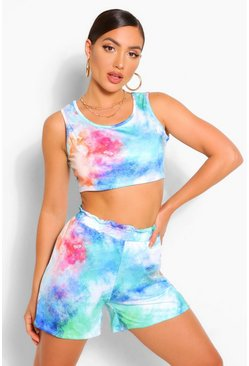 Blue TIE DYE CROP TOP AND SHORT SET