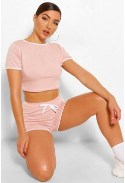 Blush pink Ringer Tshirt And Running Short Set
