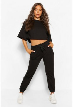 Black Boxy Crop Sweat And Joggers Set