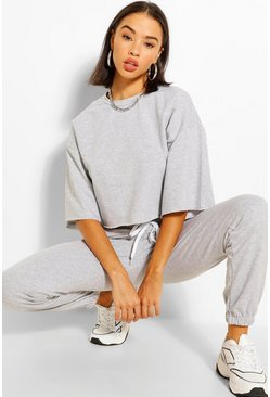 Grey marl grey BOXY CROP SWEAT AND JOGGER SET