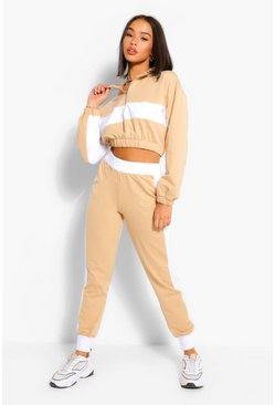 Beige COLOUR BLOCK HALF ZIP SWEAT AND JOGGER TRACKSUIT
