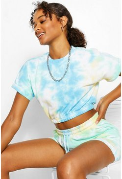 Mint green TIE DYE CROP SWEAT AND SHORT SET