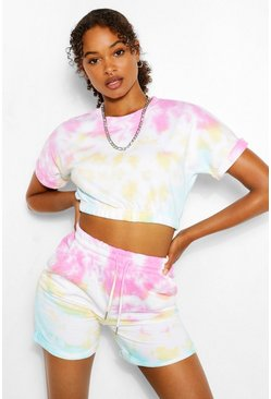 Pink TIE DYE CROP SWEAT AND SHORT SET