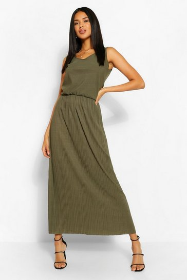 Khaki Waist Detail Maxi Dress