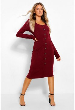 Burgundy red Scoop Neck Button Through Midi Bodycon Dress