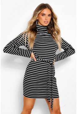 Black Stripe High Neck Belted Mini Bodycon Dress