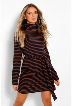 Navy Stripe High Neck Belted Mini Bodycon Dress