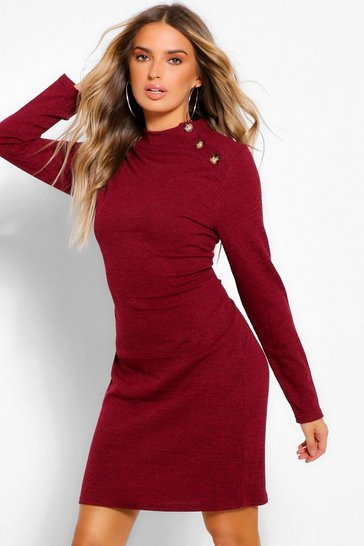 Plum purple Button Shoulder High Neck Mini Bodycon Dress