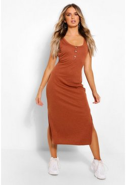 Tan brown Button Detail Side Split Midi Dress