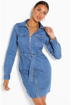 Mid blue Belted Denim Dress