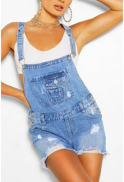 Mid blue blue Denim Dungaree Short