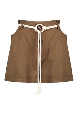 Khaki Rope Belted Turn Up High Waist Shorts