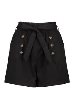Black Cotton Mix Button Detail Belted Shorts