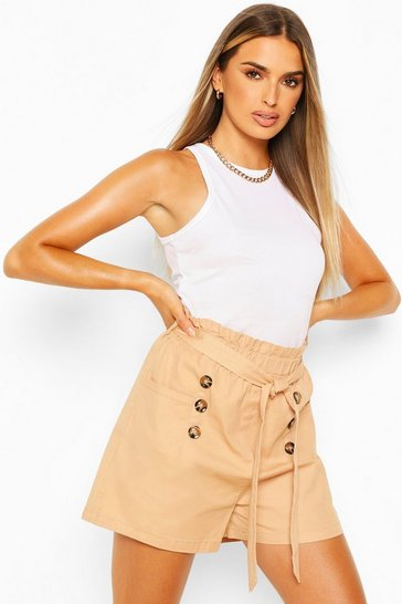 Camel Cotton Mix Button Detail Belted Shorts