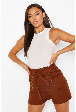 Coffee Cotton Mix Button Detail Belted Shorts