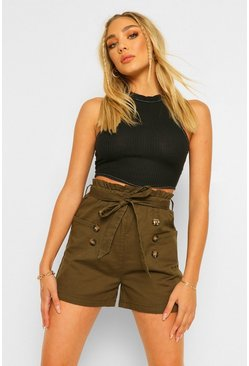 Khaki Cotton Mix Button Detail Belted Shorts