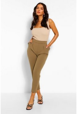 Khaki Tailored Tapered Ruffle Pocket Trouser