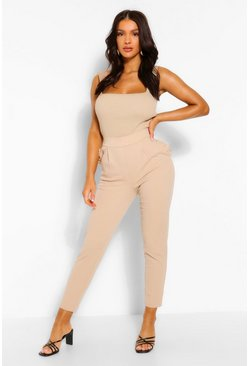 Stone beige Tailored Tapered Ruffle Pocket Trouser