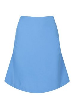 Blue Ruched Side Mini Skirt