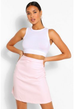 Blush pink Ruched Side Mini Skirt
