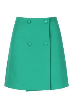 Green Self Fabric Button Skirt