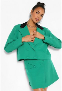 Green Contrast Collar Double Breasted Crop Blazer