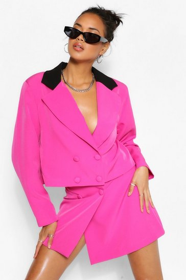 Hot pink pink Contrast Collar Double Breasted Crop Blazer