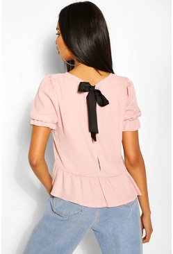 Blush pink Tie Back Woven Smock Top