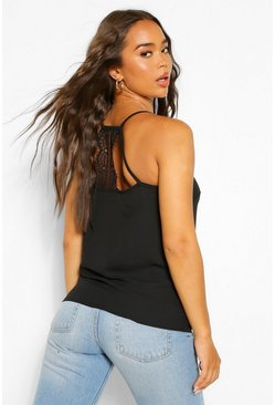 Black Woven Lace Insert Cami Top