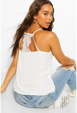 White Woven Lace Insert Cami Top