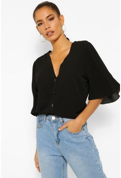 Black Button Through Woven Blouse