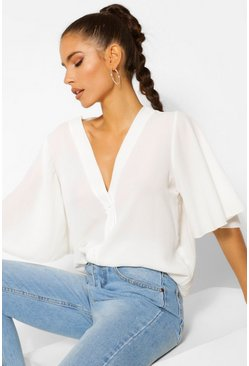 White Button Through Woven Blouse