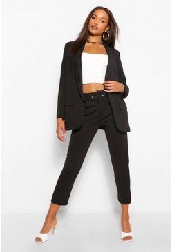 Black Self Belt Tailored Trouser