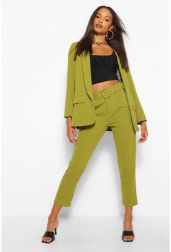 Olive Self Belt Tailored Trouser