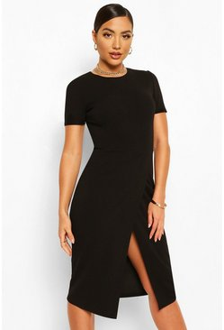 Black Short Sleeve Wrap Midi Dress
