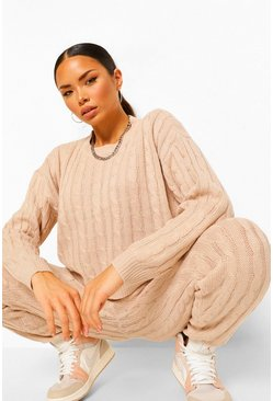 Stone beige Cable Knit Two-Piece
