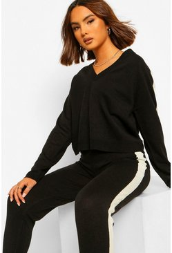 Black Side Stripe Wide Leg Knitted Co-ord