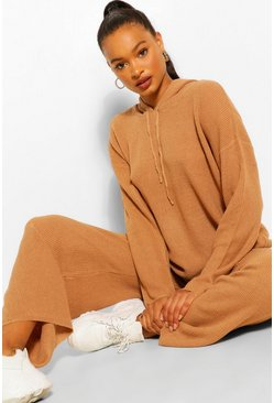 Camel beige Hoody Wide Leg Knit Set
