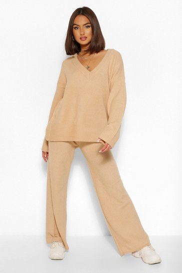 Camel beige Oversized V Neck Knitted Co-ord