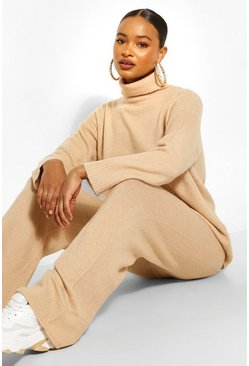 Stone beige Turtle Neck Knitted Co-ord