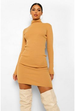 Camel beige Roll Neck Knit Dress