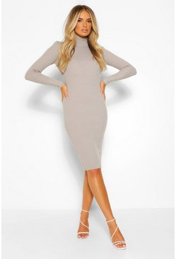 Grey Roll Neck Knitted Dress