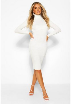 Ivory white Roll Neck Knitted Dress
