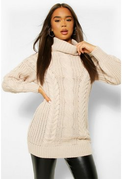 Beige Roll Neck Cable Knit Jumper Dress
