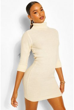 Stone beige Roll Neck Mini Dress