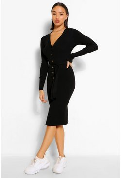 Black Belted Rib Knit Button Through Midi Dress
