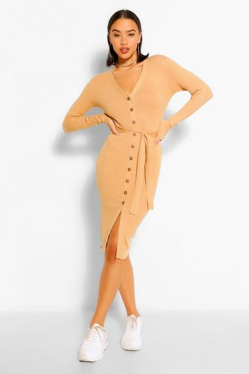 Camel beige Belted Rib Knit Button Through Midi Dress