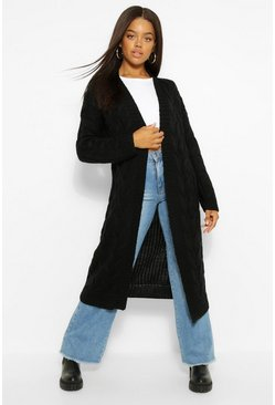 Black Cable Knit Maxi Cardigan