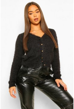 Black Fluffy Knit Button Through Crop